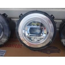 Передние фары Мерседес Гелендваген G class W463 2007-2018 V4 type ХРОМ [Комплект Л+П; светодиодные  ходовые огни; би LED линза; электрокорректор]