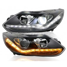 Передние фары Форд Фокус 3 2012-2014 V2 type [Комплект Л+П; яркие ходовые огни; динамичный поворотник; электрокорректор; биксеноновая линза]