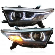 Передние фары Тойота Хайлендер 2011-2013 V8 type [Комплект Л+П; светодиодные ходовые огни; биксеноновая линза; электрокорректор]