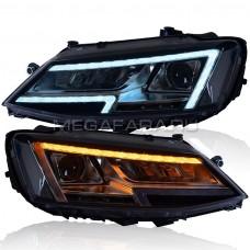 Передние фары Джетта 6 2011-2019 V18 type [Комплект Л+П; ходовые огни; би LED линза; электрокорректор; светодиодный поворотник]