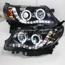 Передние фары Субару Форестер 2008-2012 V2 type  [Комплект Л+П; яркие ходовые огни; электрокорректор; биксеноновая линза]