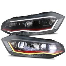 Передние фары Фольксваген Поло 2019-2021 V16 type [Комплект Л+П; GTI type; яркие ходовые огни; светодиодные; биксеноновая линза; динамичный поворотник]