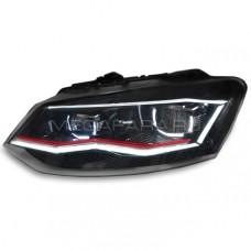 Передние фары Фольксваген Поло 2010-2019 V12 type [Комплект Л+П; GTI type; яркие ходовые огни; светодиодные; биксеноновая линза; динамичный поворотник]