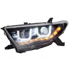 Передние фары Тойота Хайлендер 2011-2013 V10 type [Комплект Л+П; светодиодные ходовые огни; биксеноновая линза; электрокорректор]
