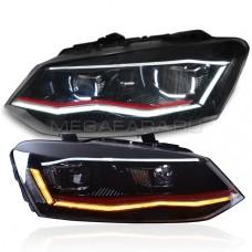 Передние фары Фольксваген Поло 2010-2019 V12 type GTI [Комплект Л+П; GTI type; яркие ходовые огни; светодиодные; биксеноновая линза; динамичный поворотник]
