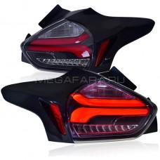 Задние фонари Форд Фокус 3 Хетчбэк 2015-2020 V10 Type ПРОЗРАЧНОЕ СТЕКЛО [Комплект Л+П; светодиодные; динамичный поворотник]