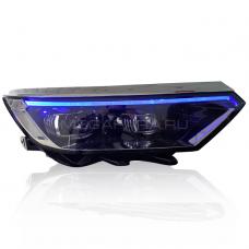 Передние фары Пассат Б8 2016-2020 V5 Type [Комплект Л+П; яркие светодиодные ходовые огни; светодиодный поворотник; электрокорректор; биксеноновая линза HELLA 5R]