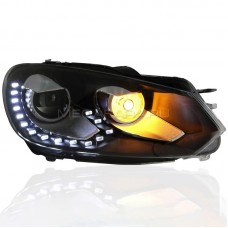 Передние фары Гольф 6 2008-2012 V5 Type [Комплект Л+П; светодиодные ходовые огни; электрокорректор]