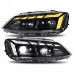 Передние фары Джетта 6 2011-2019 V19 type [Комплект Л+П; ходовые огни; би LED линза; электрокорректор; светодиодный поворотник]