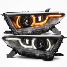 Передние фары Тойота Хайлендер 2011-2013 V9 type [Комплект Л+П; ходовые огни; динамичный поворотник; биксеноновая линза; электрокорректор]