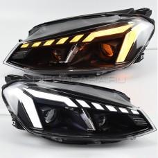 Передние фары Гольф 7 V13 type [Комплект Л+П; светодиодные яркие ходовые огни; биксеноновая линза HELLA 5; электрокорректор; динамичный поворотник]