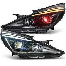 Передние фары Хендай Соната 2009-2014 V9 type [Комплект Л+П; ходовые огни; светодиодный поворотник; электрокорректор; FULL LED]