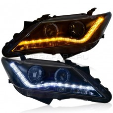 Передние фары Тойота Камри 2011-2014 V4 type [Комплект Л+П; яркие ходовые огни; биксеноновая линза HELLA 5; электрокорректор; динамичный поворотник]