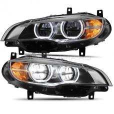 Передние светодиодные фары БМВ Х5/Х6 (Е70/Е71) 2007-2014 V1 type [Комплект Л+П; ходовые огни; FULL LED]