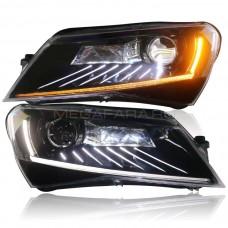 Передние светодиодные фары Шкода Суперб 3 2016-2020 V2 type [Комплект Л+П; яркие ходовые огни; светодиодный поворотник; электрокорректор; FULL LED]