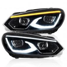 Передние фары Гольф 6 2008-2012 V14 Type [Комплект Л+П; яркие ходовые огни; динамичный поворотник; электрокорректор; FULL LED]