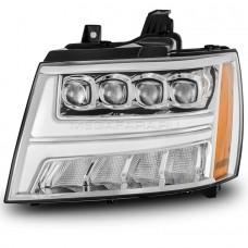 Передние фары Шевроле Тахо 2007-2013 V6 type ХРОМ [Комплект Л+П; яркие ходовые огни; светодиодный поворотник; FULL LED]