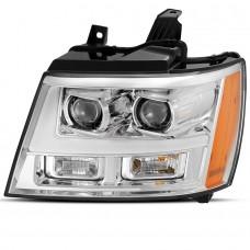 Передние фары Шевроле Тахо 2007-2013 V8 type ХРОМ [Комплект Л+П; яркие ходовые огни; LED лизны]
