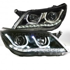 Передние фары VW Тигуан 2010-2012 V4 type [Комплект Л+П; яркие ходовые огни; LED поворотник; электрокорректор; биксеноновая линза]
