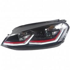Передние фары Гольф 7 V12 type GTI Red line [Комплект Л+П; яркие ходовые огни; биксеноновая линза HELLA 5R; электрокорректор; динамичный поворотник]