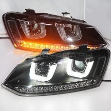 Передние фары Фольксваген Поло 2010-2019 V5 type [Комплект Л+П; яркие ходовые огни; биксеноновая линза; светодиодный поворотник]