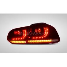 Задние фонари Гольф 6 2008 - 2012 GTI КРАСНЫЕ V13 type [Комплект Л+П; Светодиодные; Динамичный поворотник]
