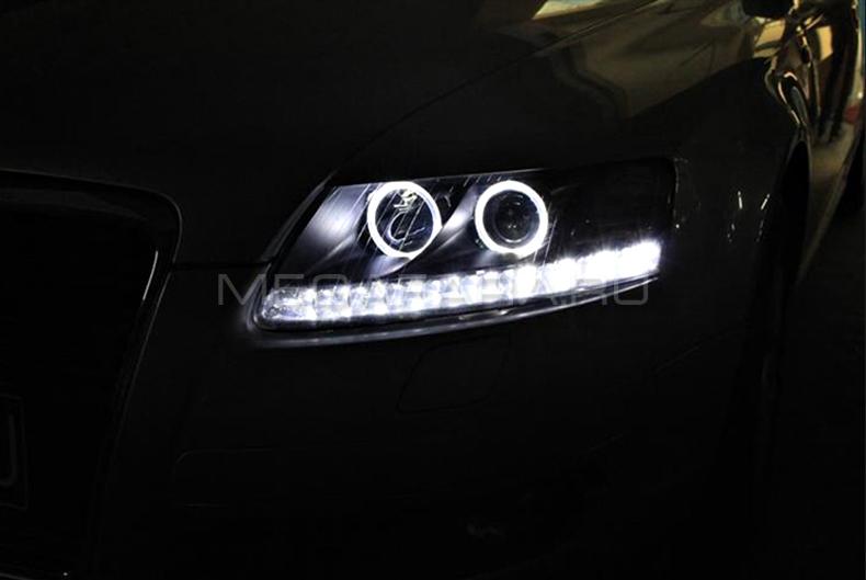 Передние фары Ауди А6 С6 2004-2011 V2 type [Комплект Л+П; светодиодные; под штатный корректор; яркие ходовые огни]