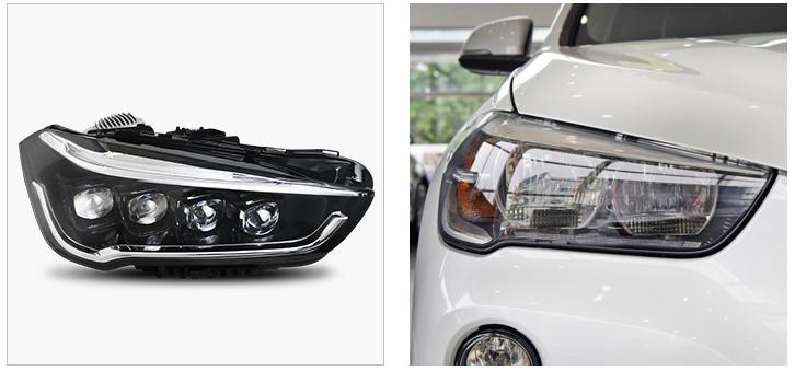 Передние фары БМВ Х1 F48 2015-2019 V8 type [Комплект Л+П; ходовые огни; полностью светодиодные; электрокорректор]