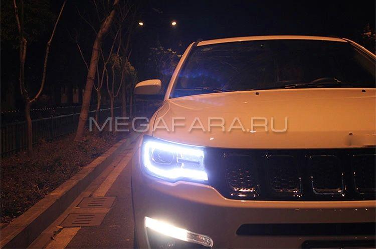 Передние фары Джип Компас 2017-2019 V3 type [комплект Л+П, ходовые огни; электрокорректор]