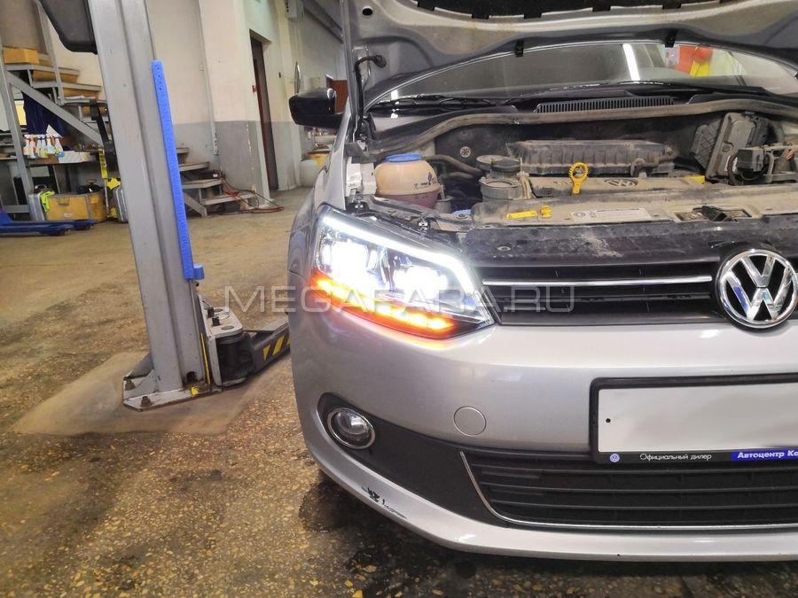 Передние фары Фольксваген Поло 2010-14 V6 type [Комплект Л+П; светодиодные; биксеноновая линза; дина