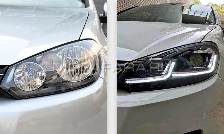 Передние фары Гольф 6 2008-2012 V11 Type [Комплект Л+П; яркие светодиодные ходовые огни; светодиодны
