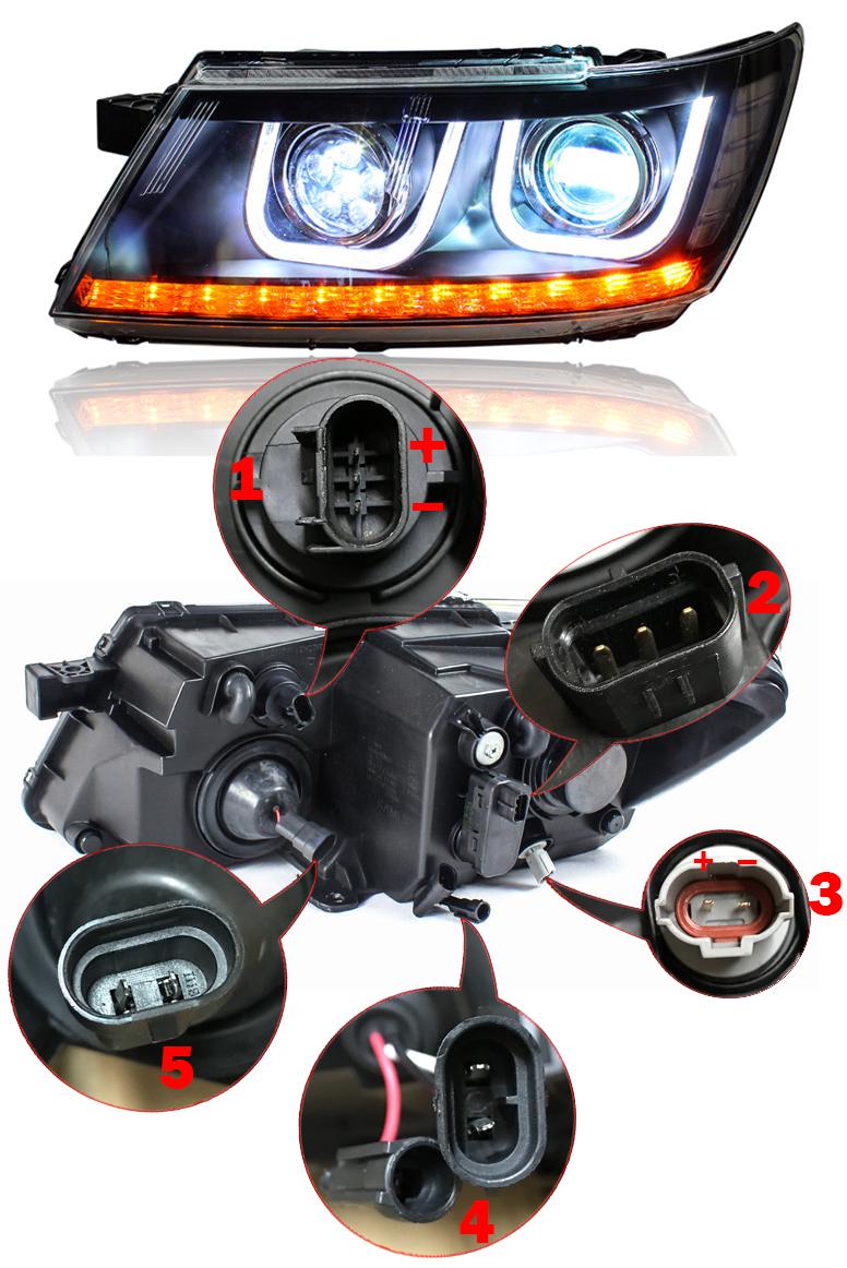Передние фары Додж Джорни 2008-2019 V3 type [Комплект Л+П; светодиодные; электрокорректор; биксеноновая линза]