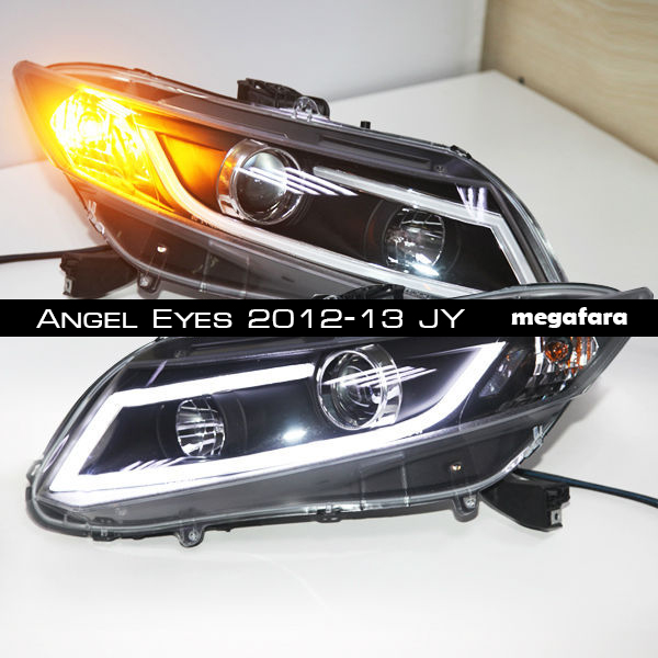 Передние фары Honda Civic Angel Eyes 2012-13 JY type