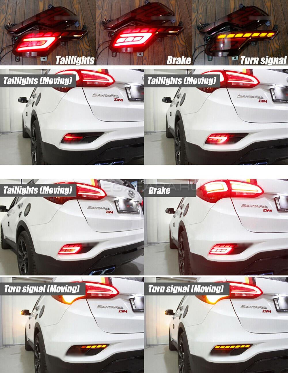 Светодиодные вставки в задний бампер Хендай Санта Фе IX45 V4 Type [Комплект Л+П; Светодиодные; Динамичный поворотник]