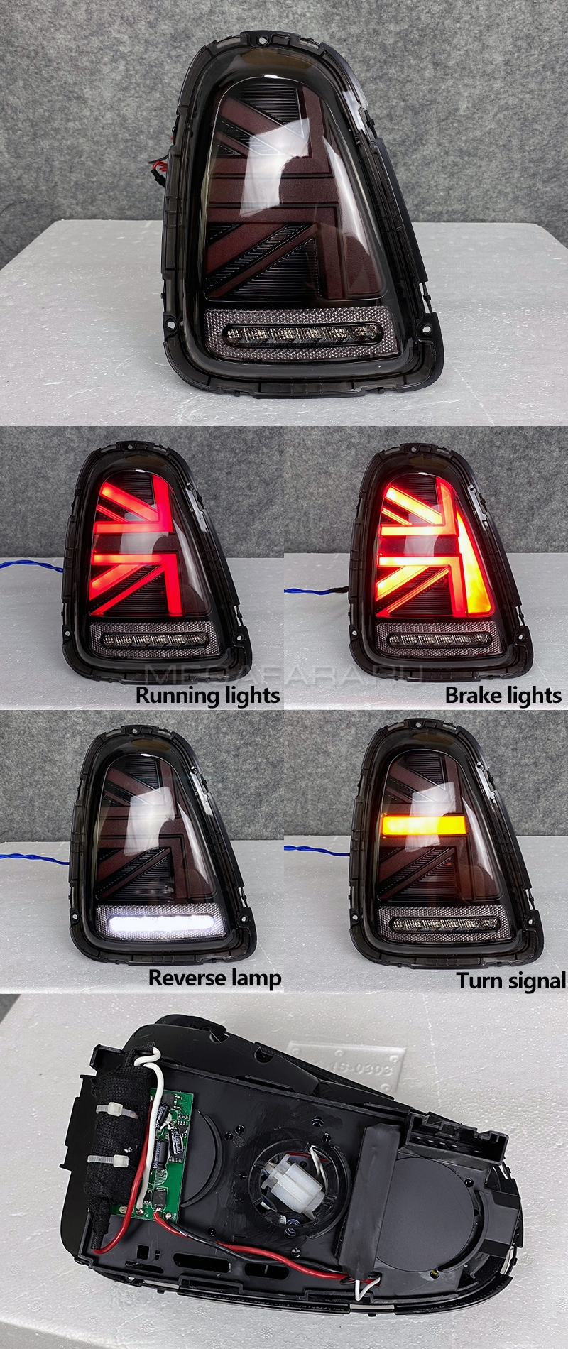 Задние фонари Мини Купер R56 Union Jack 2007-2013 V4 type ТЕМНО-КРАСНЫЕ [Комплект Л+П; Светодиодные]