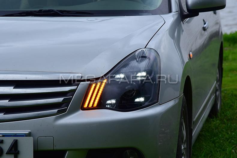 Передние фары Ниссан Альмера (G15) 2012-2018 V1 type [Комплект Л+П; ходовые огни; FULL LED; динамичный поворотник]