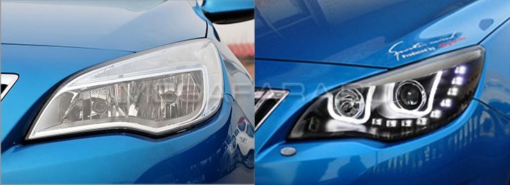 Передние фары Опель Астра J 2010-2013 V1 type [Комплект Л+П; ходовые огни; биксеноновая линза; электрокорректор]