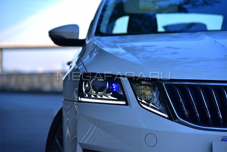 Передние светодиодные фары Шкода Октавия А7 2018-2020 V7 type [Комплект Л+П; ходовые огни; FULL LED]