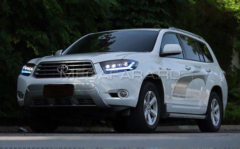 Передние фары Тойота Хайлендер 2007-2010 V6 type [Комплект Л+П; ДХО; FULL LED; Бегущий поворотник]
