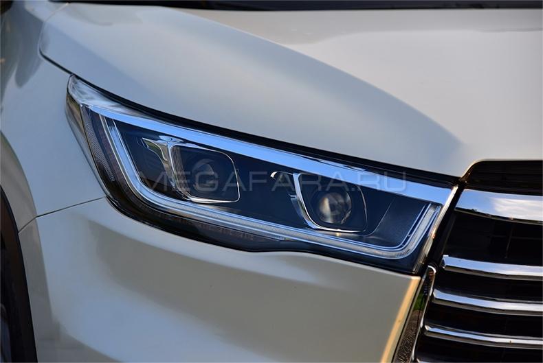 Передние фары Тойота Хайлендер 2014-2016 V18 type [Комплект Л+П; светодиодные; электрокорректор; яркие ходовые огни; биксеноновая линза]