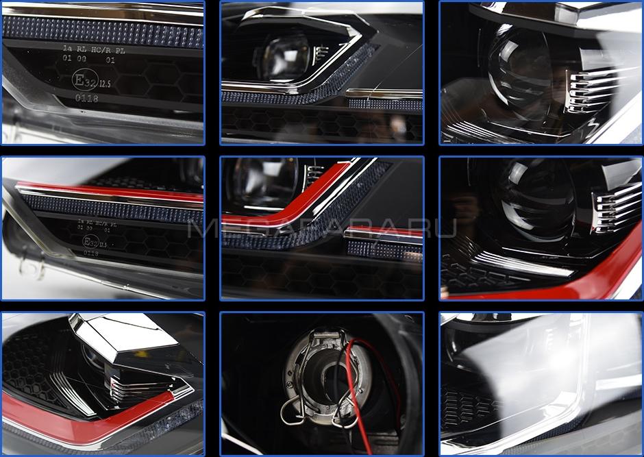 Передние фары Гольф 6 2008-2012 V12 Type RED LINE [Комплект Л+П; яркие ходовые огни; динамичный поворотник; электрокорректор; биксеноновая линза HELLA 5R]