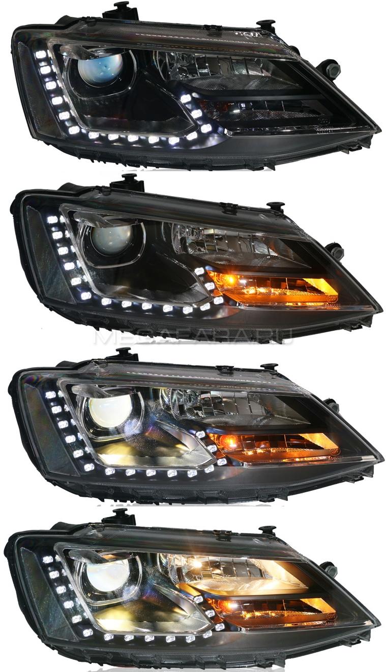 Передние фары Джетта 6 2011-2019 V1 type [Комплект Л+П; ходовые огни; биксеноновая линза Q5; электрокорректор]