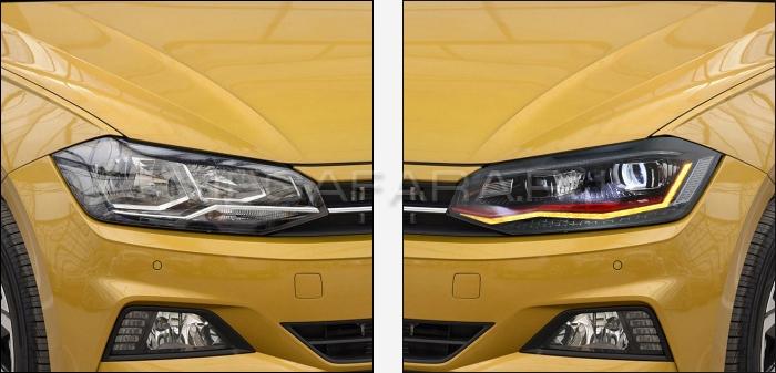 Передние фары Фольксваген Поло 2019-2021 V15 type [Комплект Л+П; якие ходовые огни; светодиодные; биксеноновая линза; динамичный поворотник]