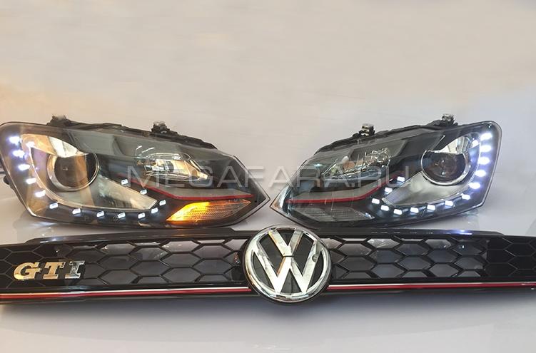 Передние фары Фольксваген Поло GTI 2010-2019 V8 type [Комплект Л+П; яркие ходовые огни; светодиодные; биксеноновая линза]